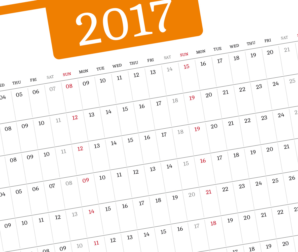 year planner template orange