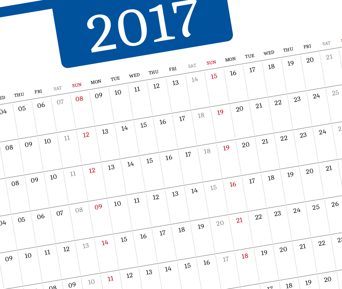 2017 year planner template blue