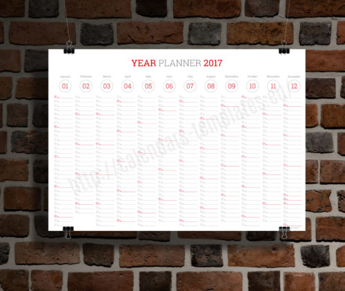 modern clean big wall year planner template calendar 2017 KP-W7 red