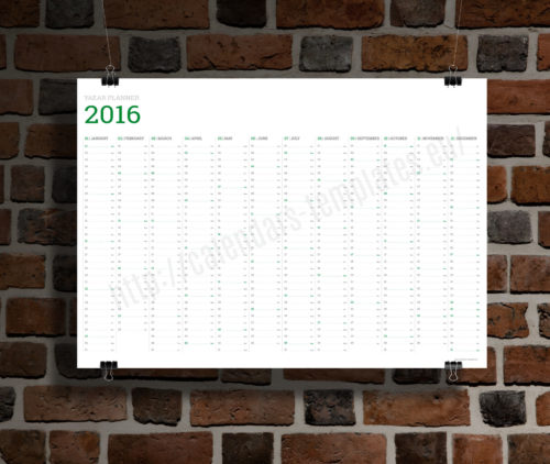 big wall year planner template calendar 2017 KP-W8 green