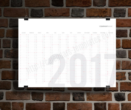 modern clean big wall year planner template calendar 2017 KP-W9