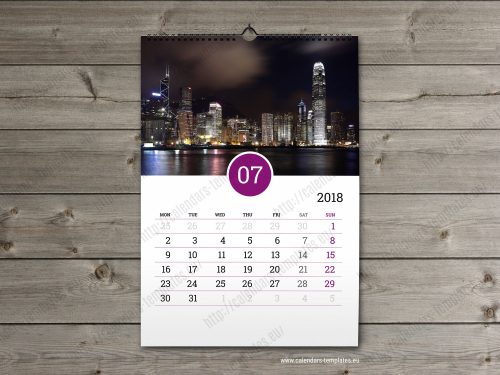 2018 business calendar template