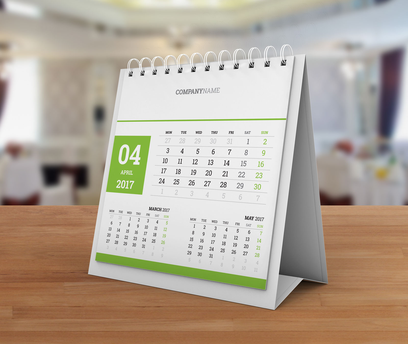 Table Calendar 2016 : Desk tent calendar kb w template