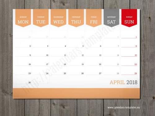 monthly calendar 2018 planner template