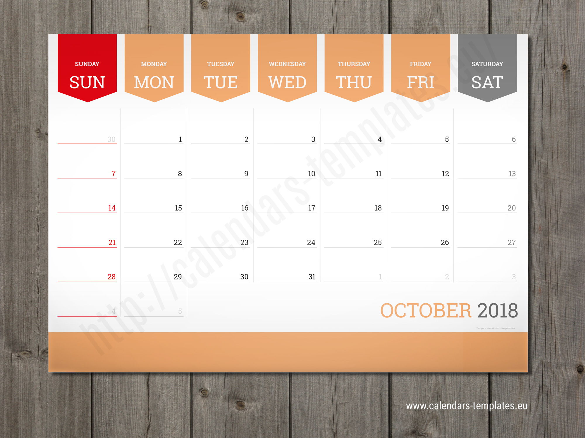 Monthly calendar 2018 planner wall or table pad planner for W3 org table layout