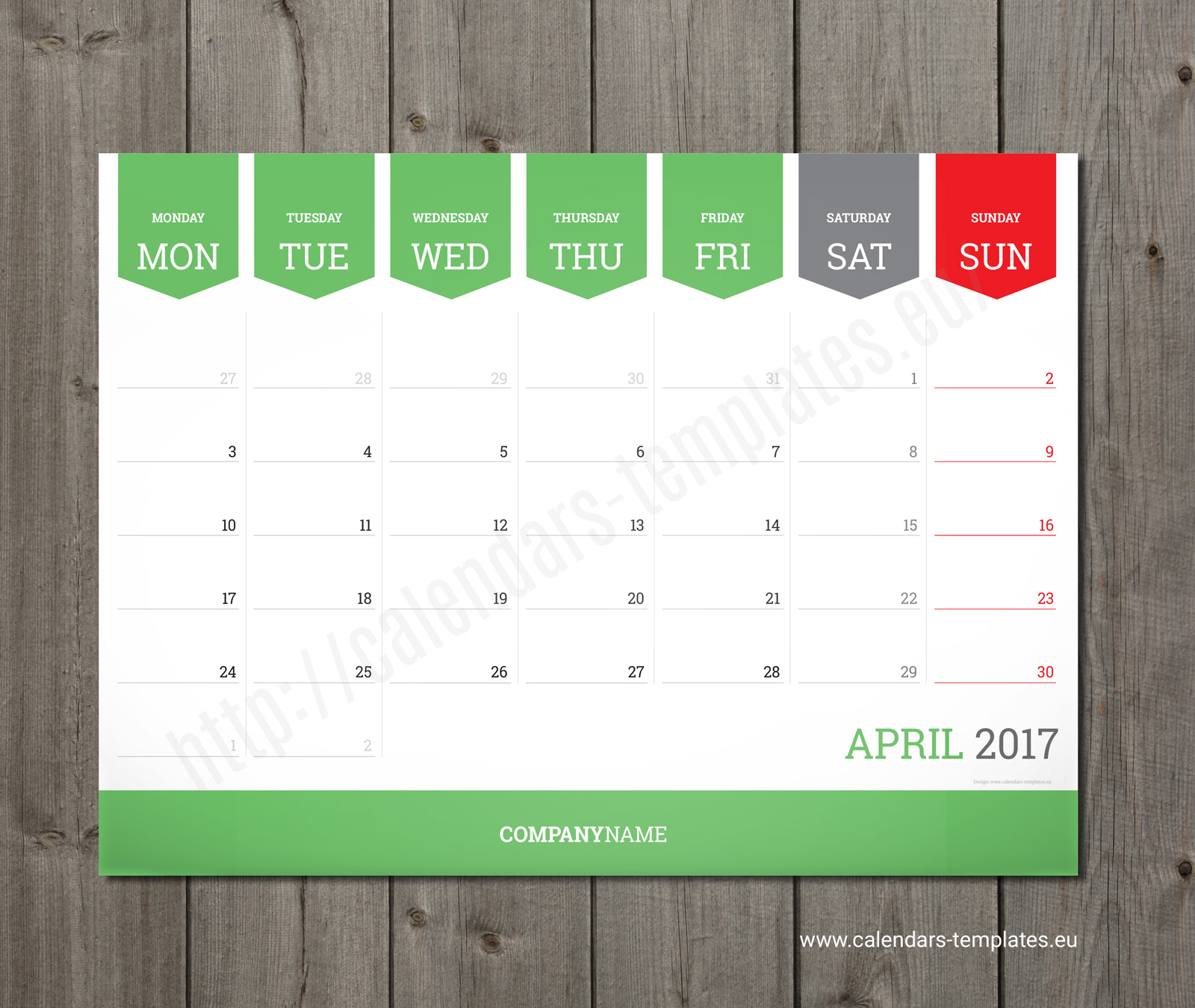 Calendar Planner Sample : Monthly calendar planner wall or table pad