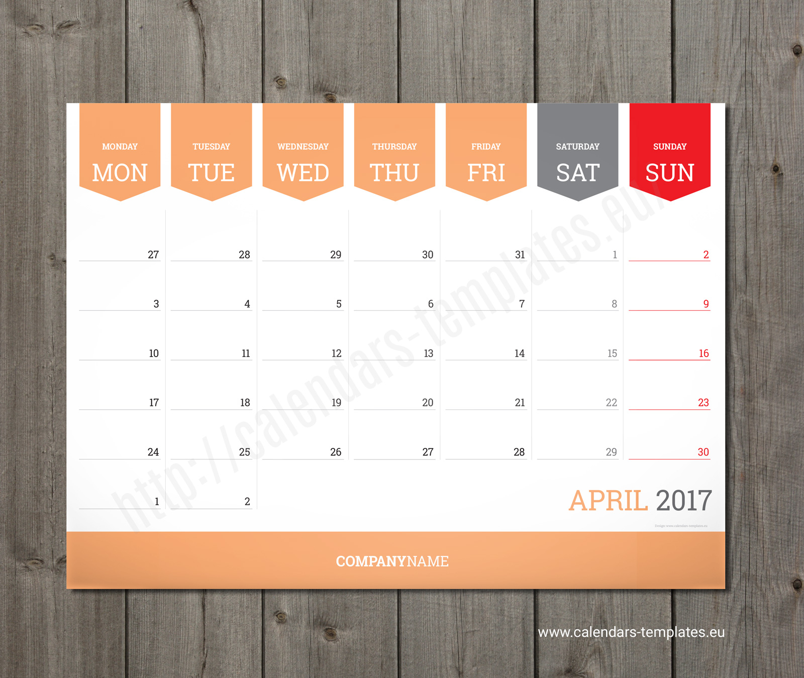 Sample Monthly Calendar : Monthly calendar planner wall or table pad