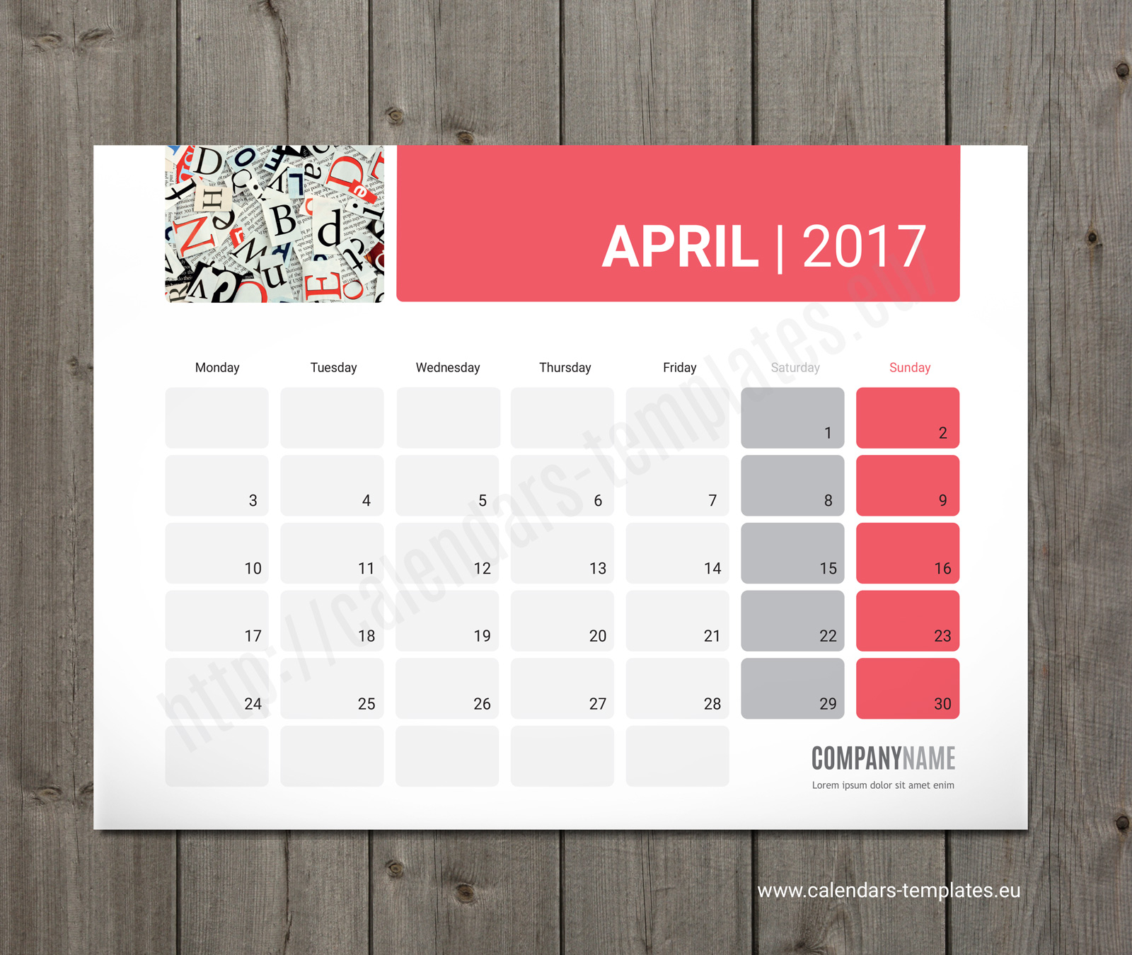 Calendar Planner Sample : Photo desk monthly planner