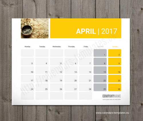 Printable monthly planner template calendar 2017 PMW5 yellow