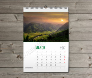 wall calendar template march
