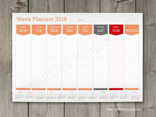 Desk Calendar Planner : Weekly planners calendar templates wall or desk week