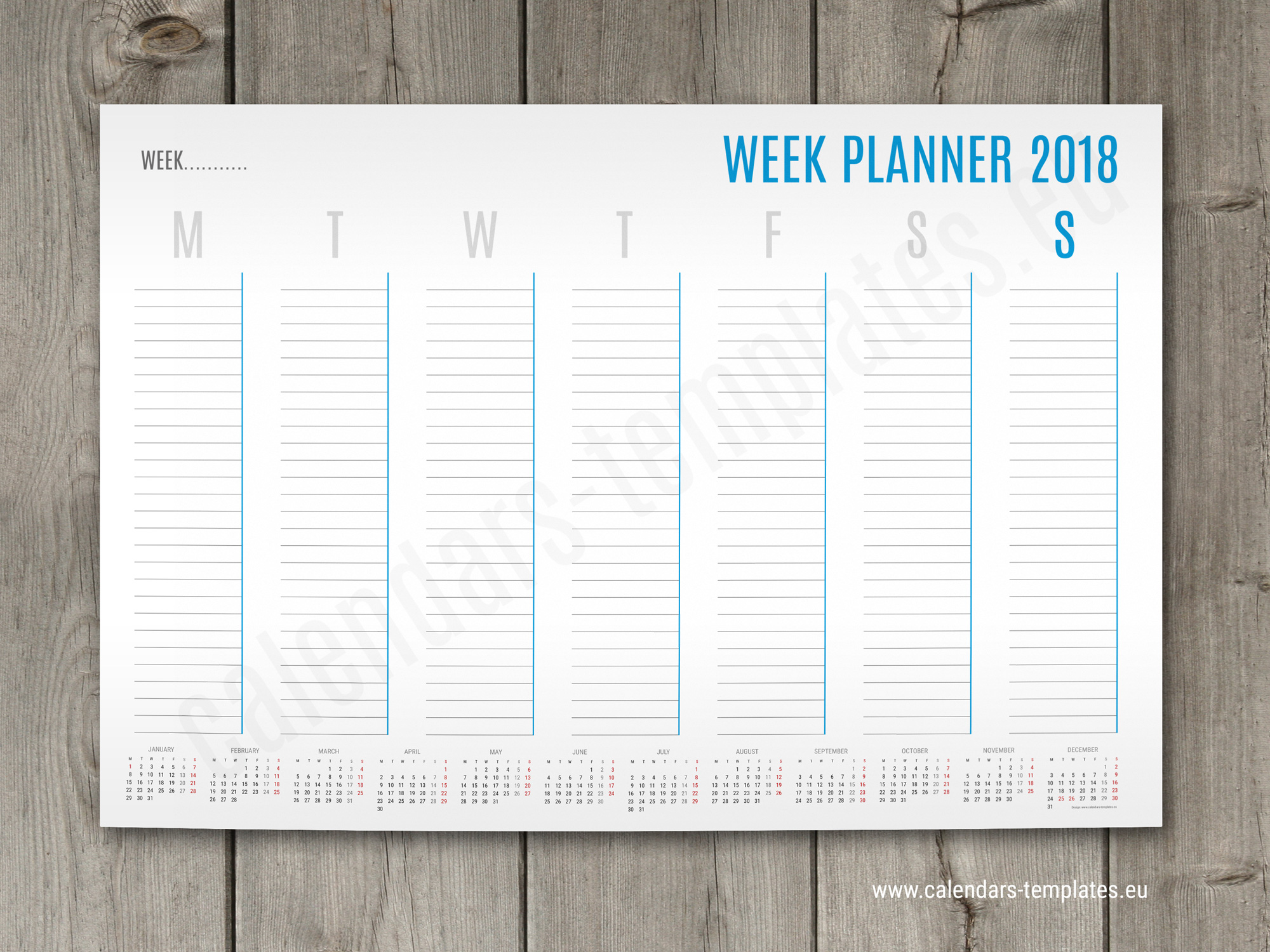 A1 a2 and a3 weekly planner template with small yearly for Week by week planner template