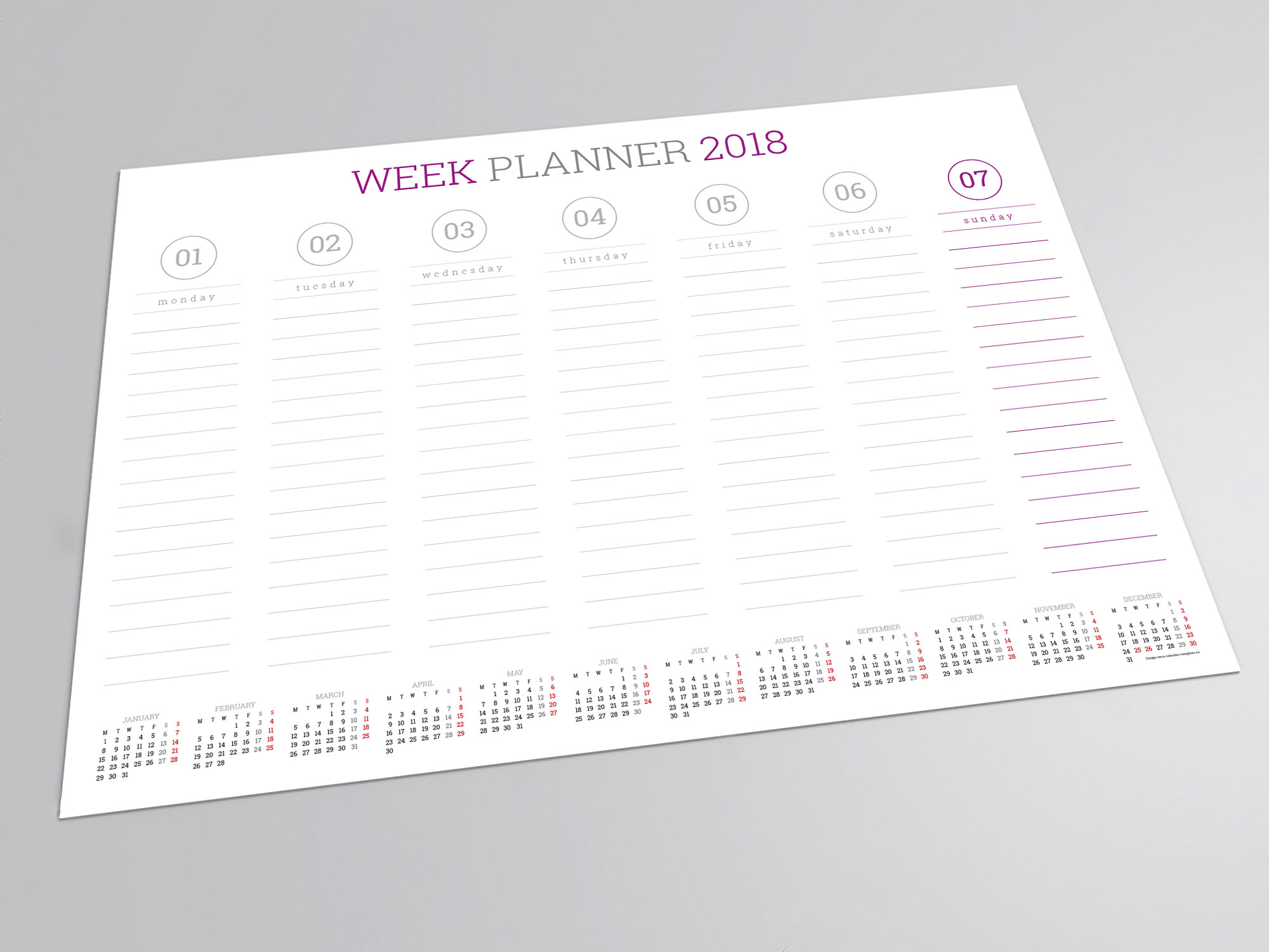 Weekly Calendar Agenda : Weekly wall planner template pdf format a and