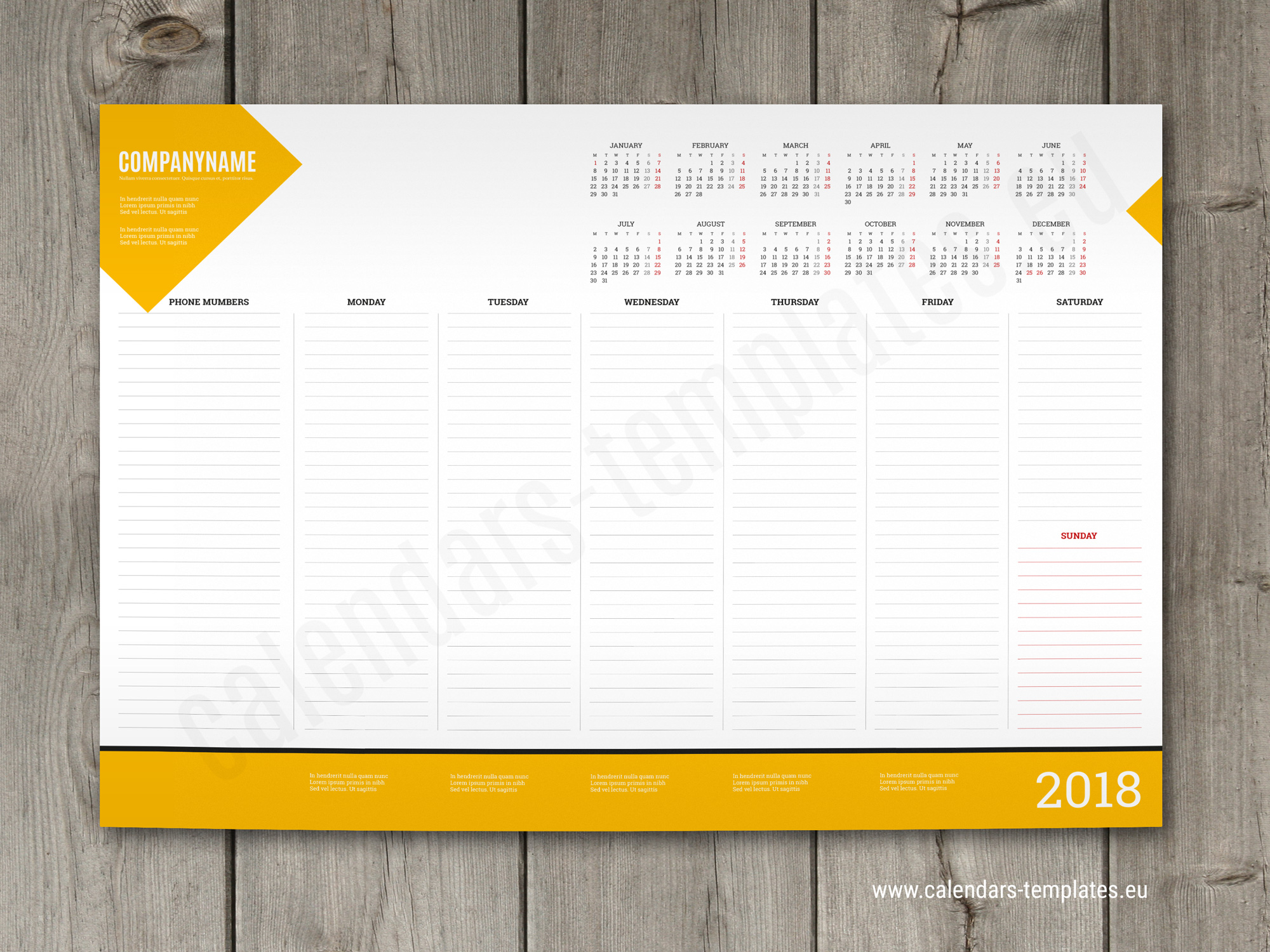Desk Calendar Planner : Weekly desk pad planner template with yearly calendar
