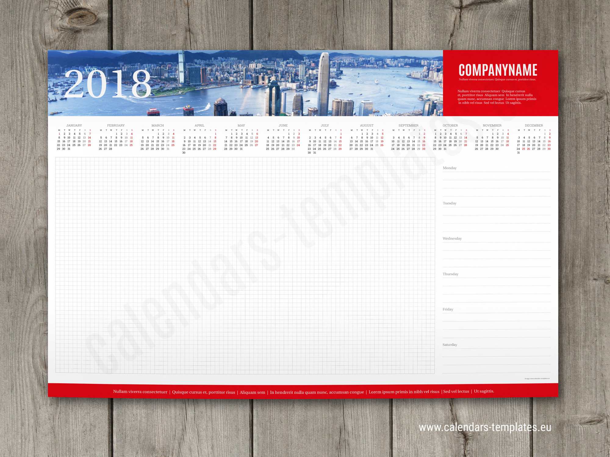 Desk Calendar Planner : Week desk planner template with yearly calendar