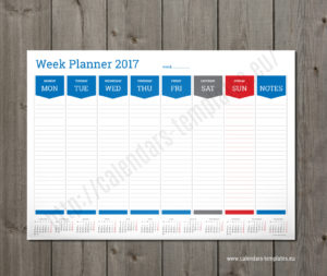 weekly planner template blue