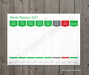 weekly planner template green