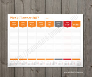weekly planner template orange