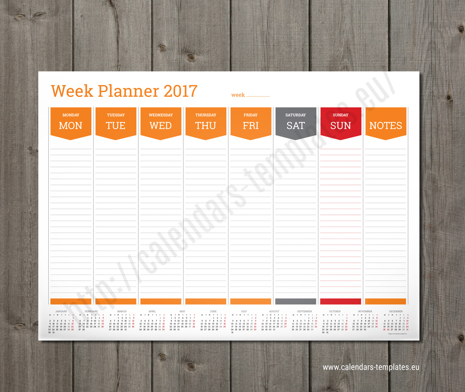 Weekly Calendar Design : Weekly planner template a size pdf format