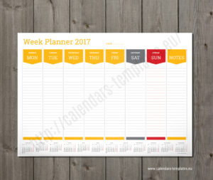 weekly planner template yellow
