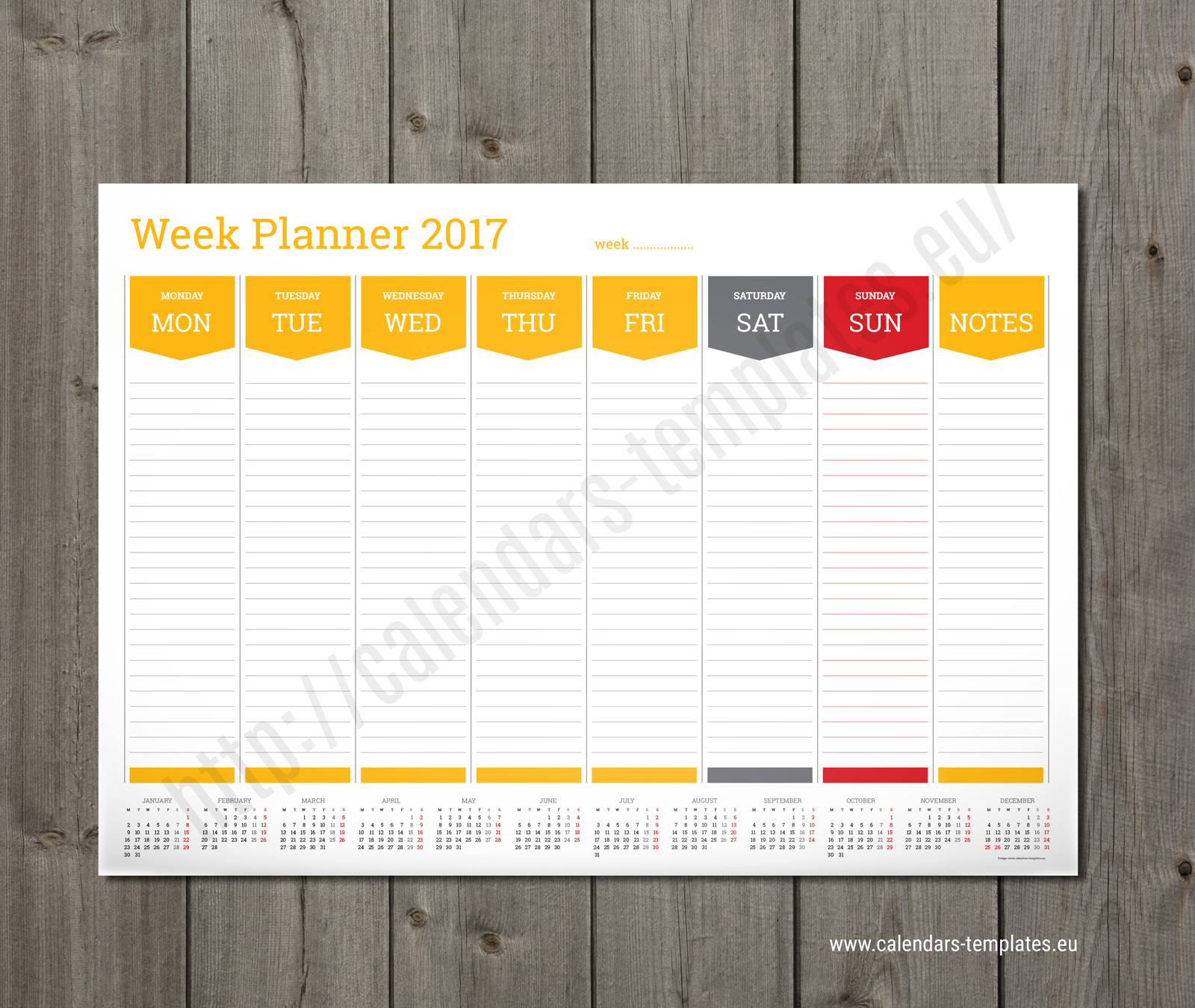Daily Weekly Planner Printable PTW1 Template – Weekly Agenda