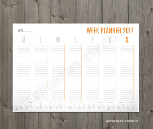 weekly planner calendar 2017 with yearly calendar PT-W2 orange