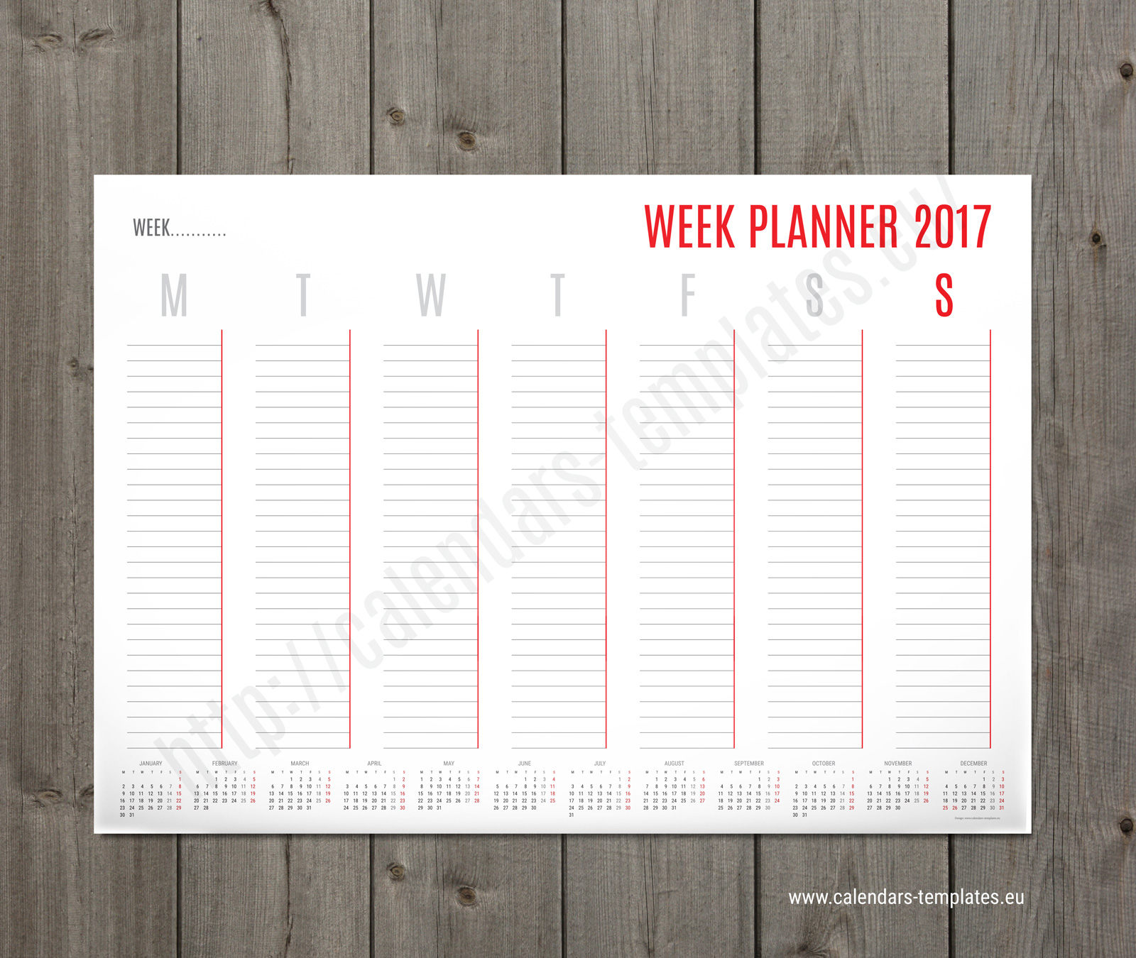 weekly calendar template for penultimate