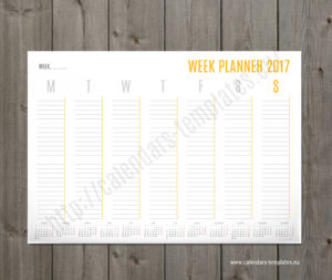 printable A2 weekly planner template with yearly calendar