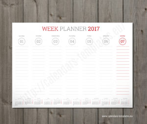 weekly wall planner red