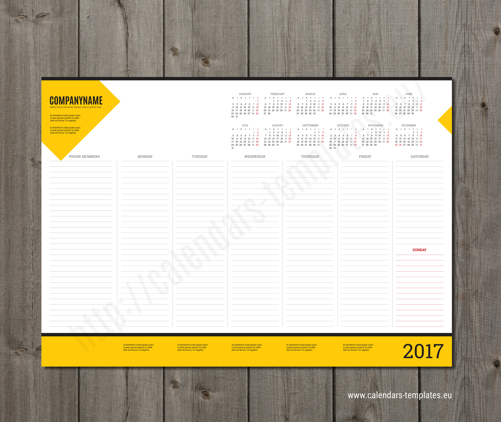 Weekly Calendar Pad : Weekly desk pad planner template with yearly calendar