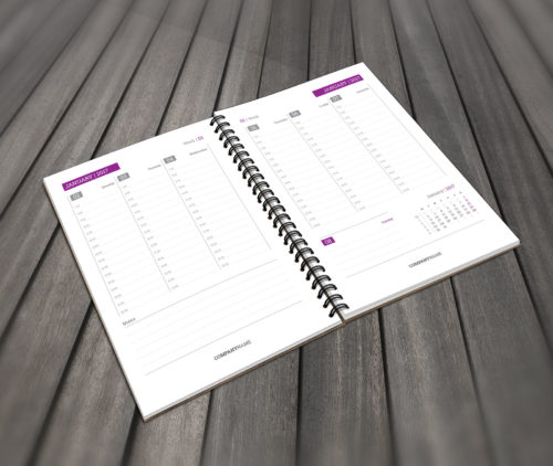 Weekly planner A5 notebook with yearly calendar 2017 and 2018 PTW6 violet