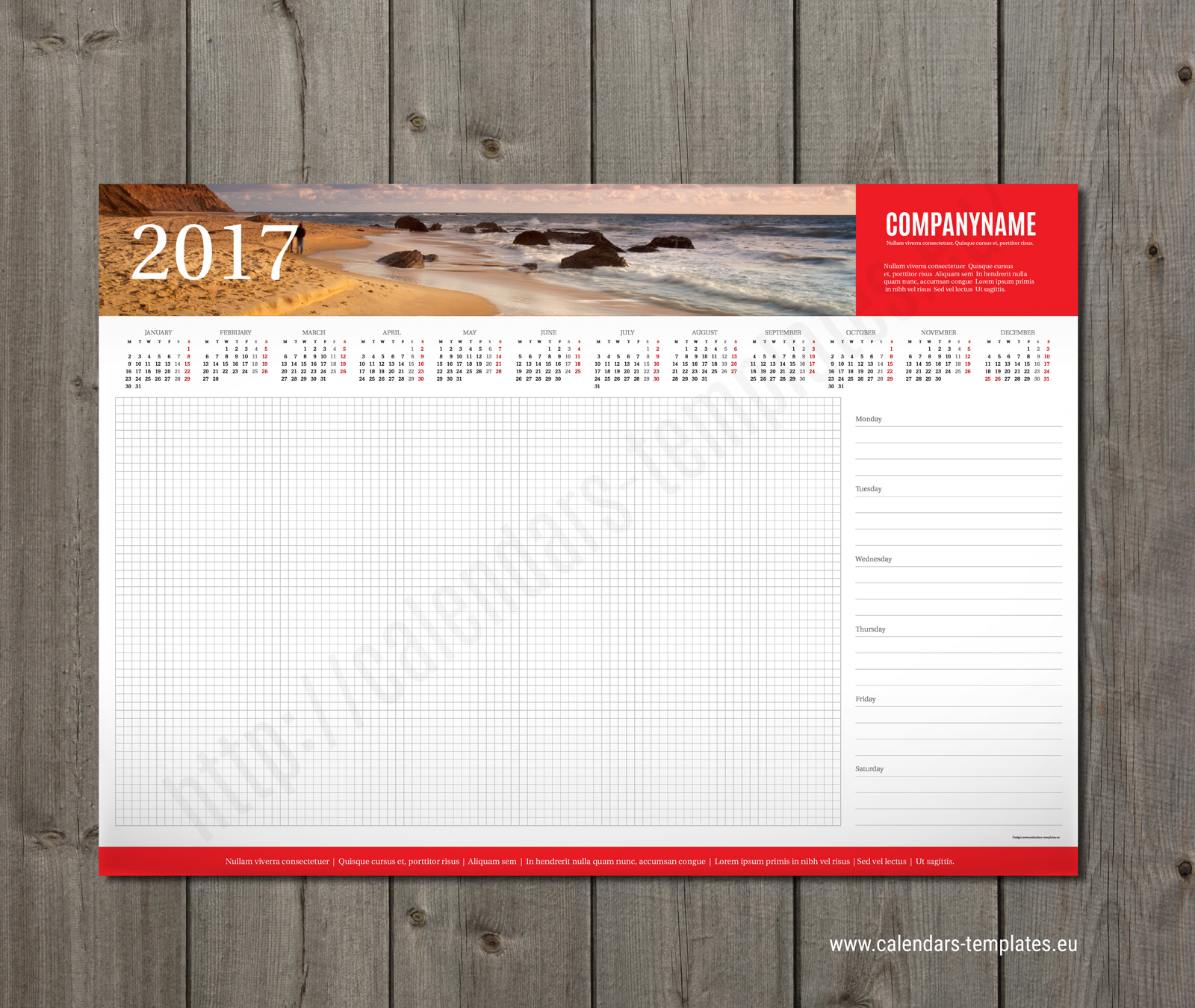Week Desk Planner Template 2018 With Yearly Calendar