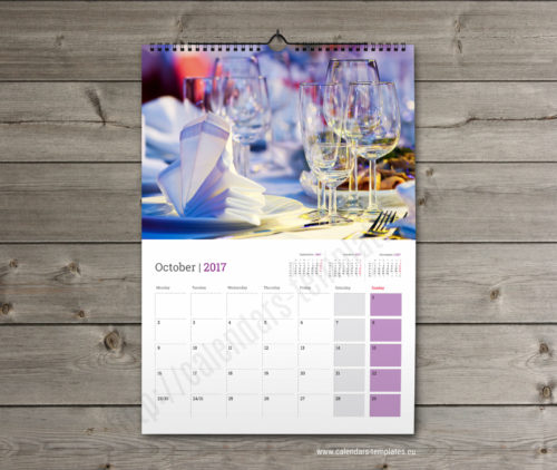 monthly wall calendar planner template Yearly big wall planner template calendar 2017 KW13-W18 violet
