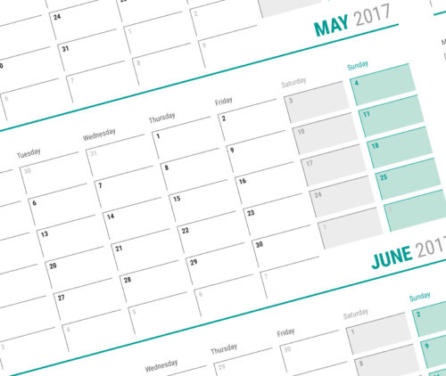 big wall yeraly planner template calendar 2017 KP-W16 green