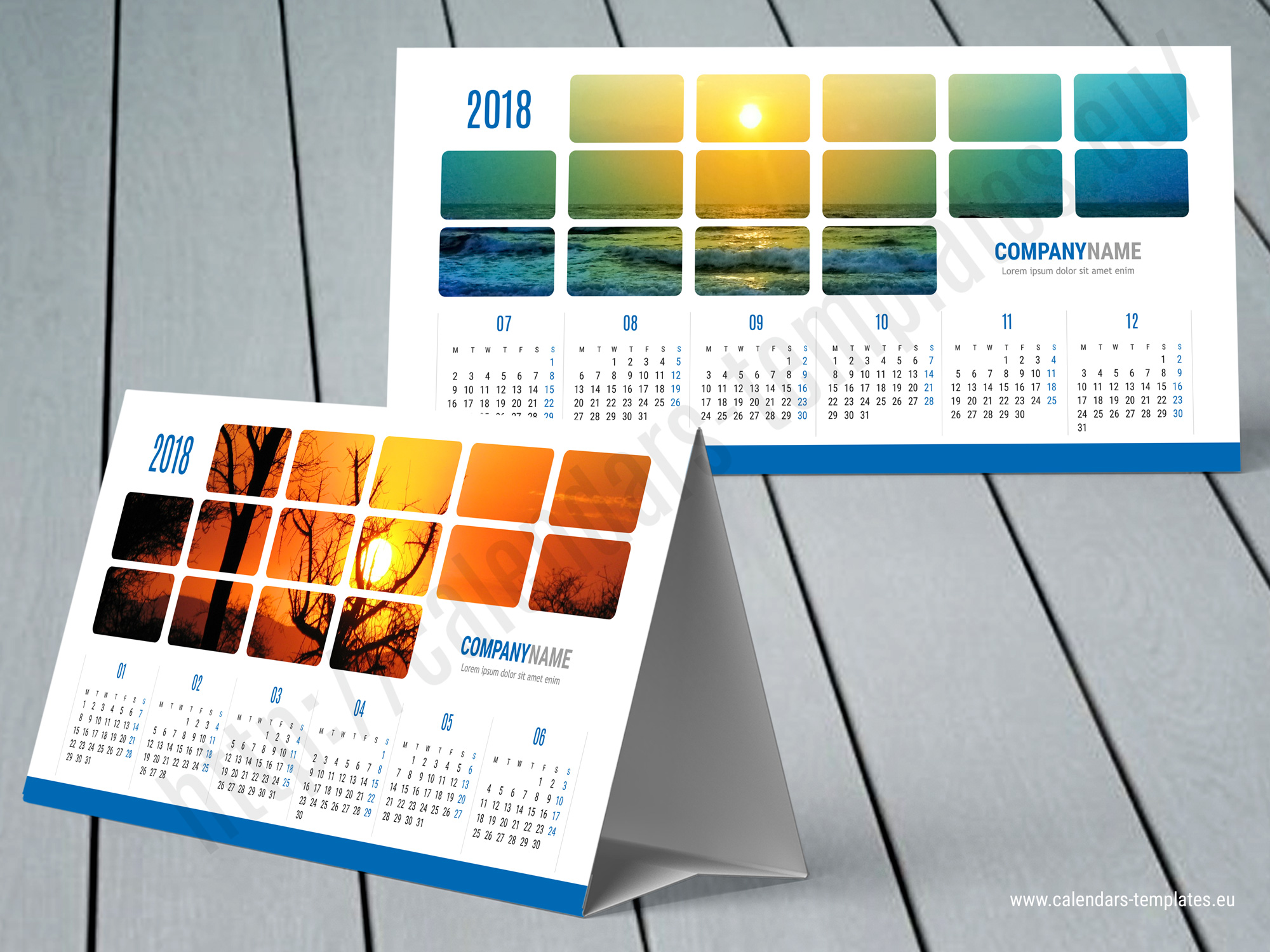 2018 desk yearly tent calendar template kb60 w1 desktop for Table design 2018