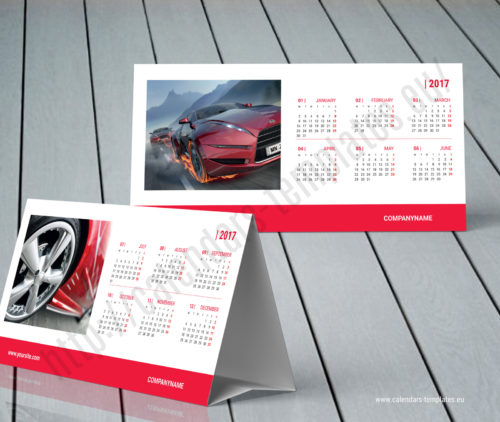 Table tent calendar red