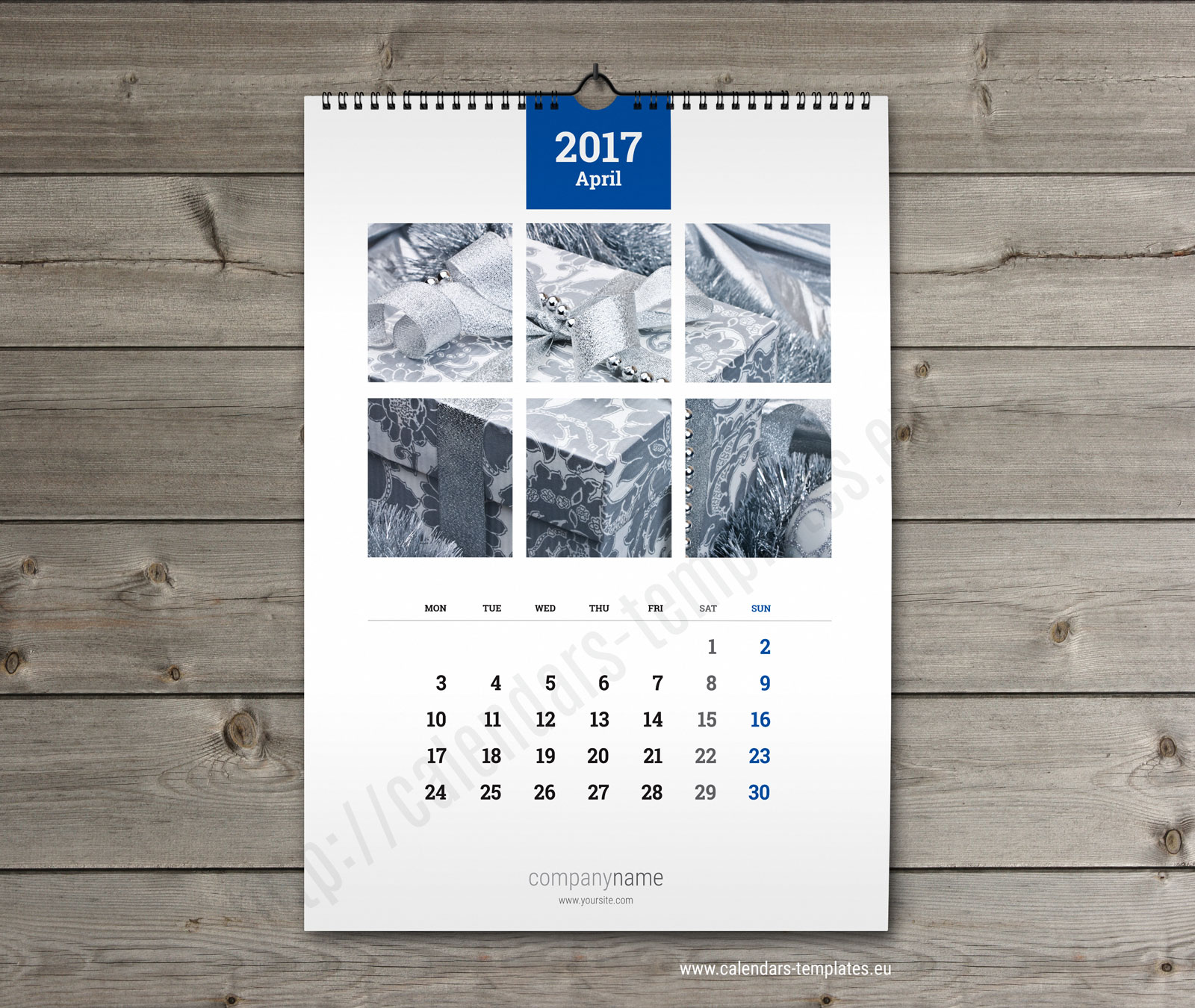 Wall calendar A3. Printable photo yearly & monthly calendar template