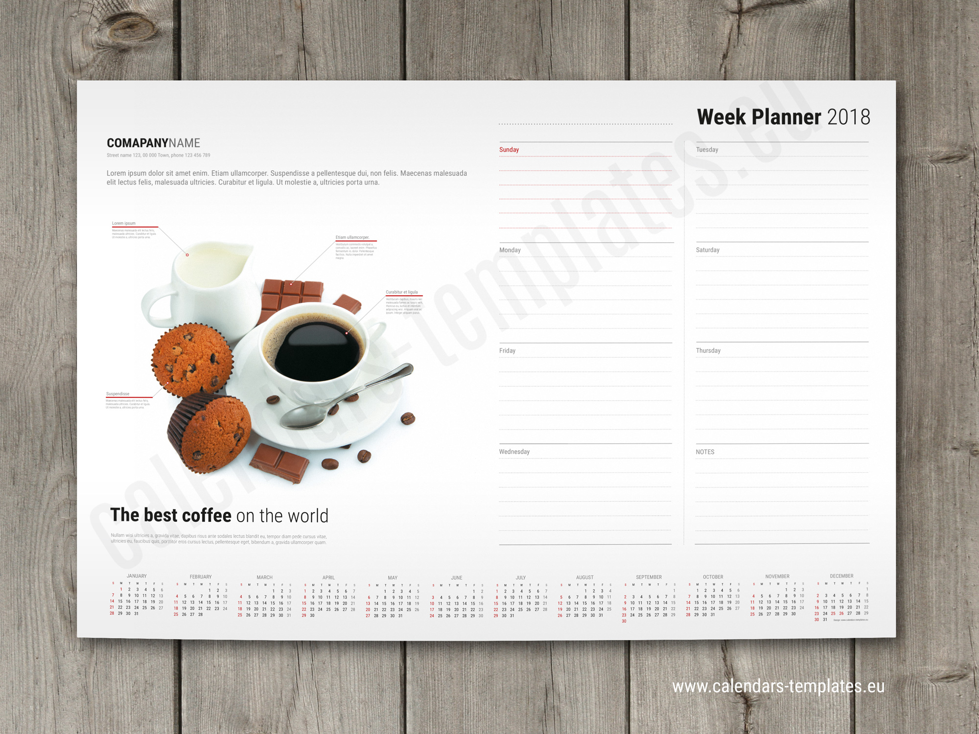 weekly calendar pad with image