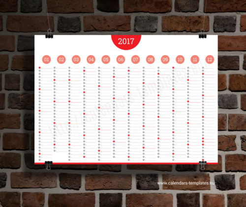 Yearly big wall planner template calendar 2017 KP-W14 red