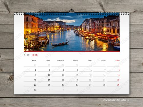 2018 year calendar, horizontal custom calendar in pdf format