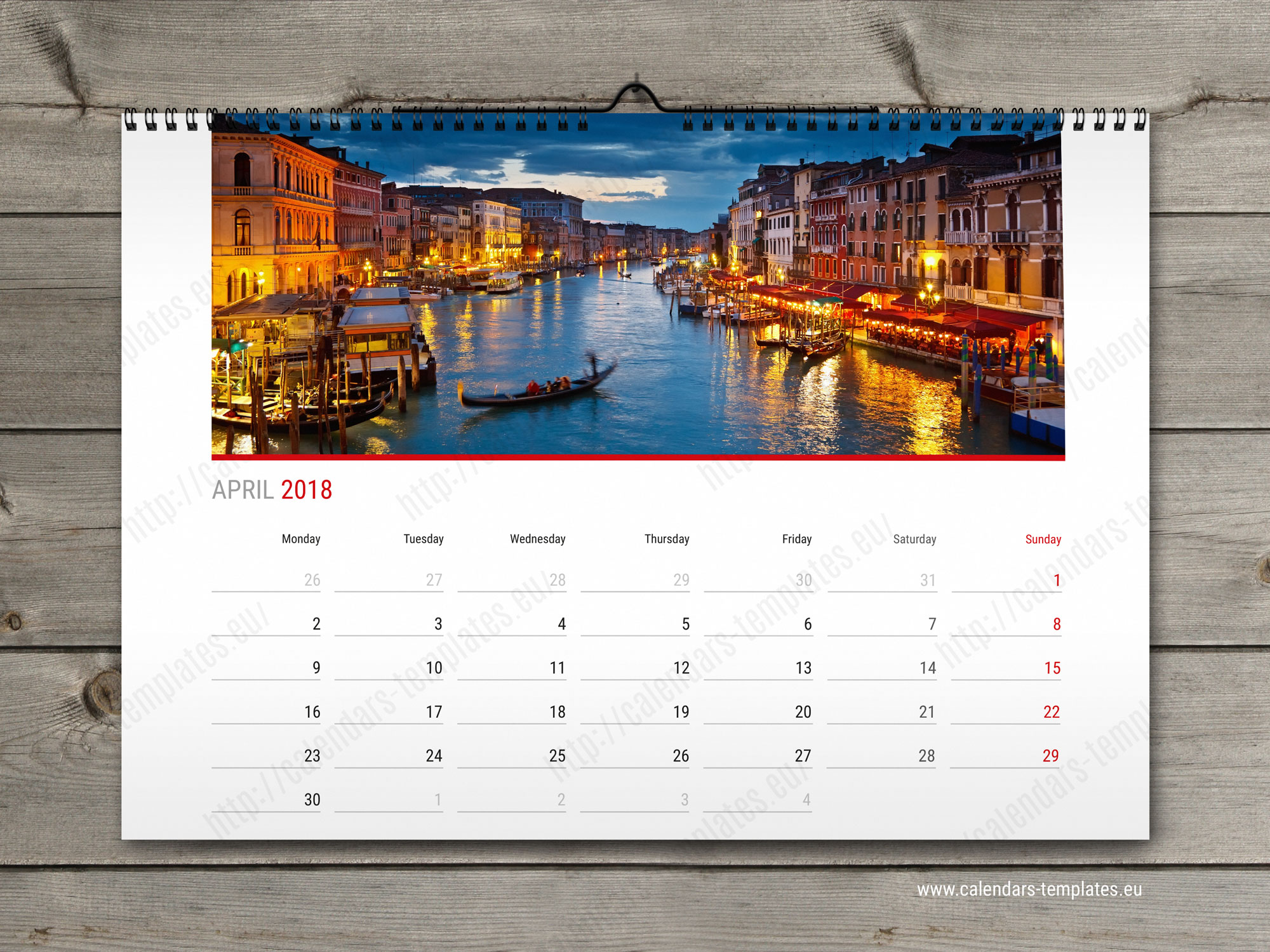 2018 Year Calendar Printable Photo A3 A2 Horizontal Wall