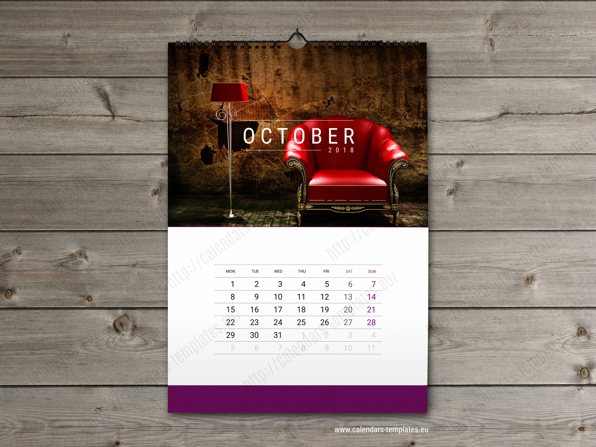 Wall calendar template 2018. Yearly & monthly wall calendar.