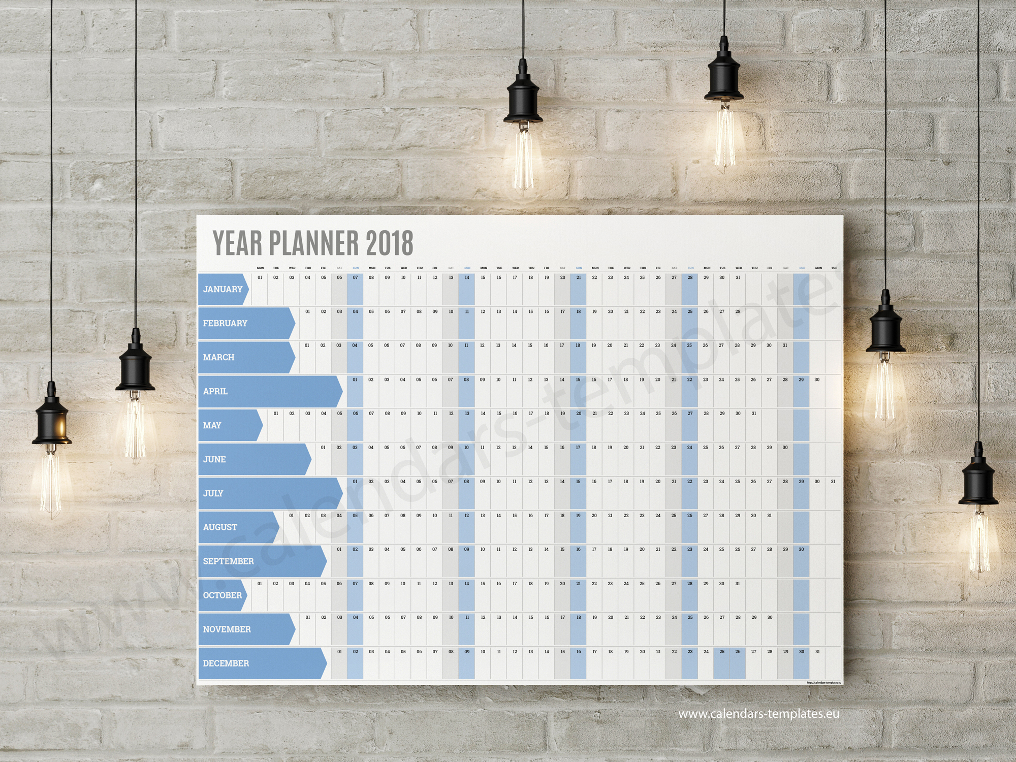 best calendar planner template for 2018 year big horizonta planner