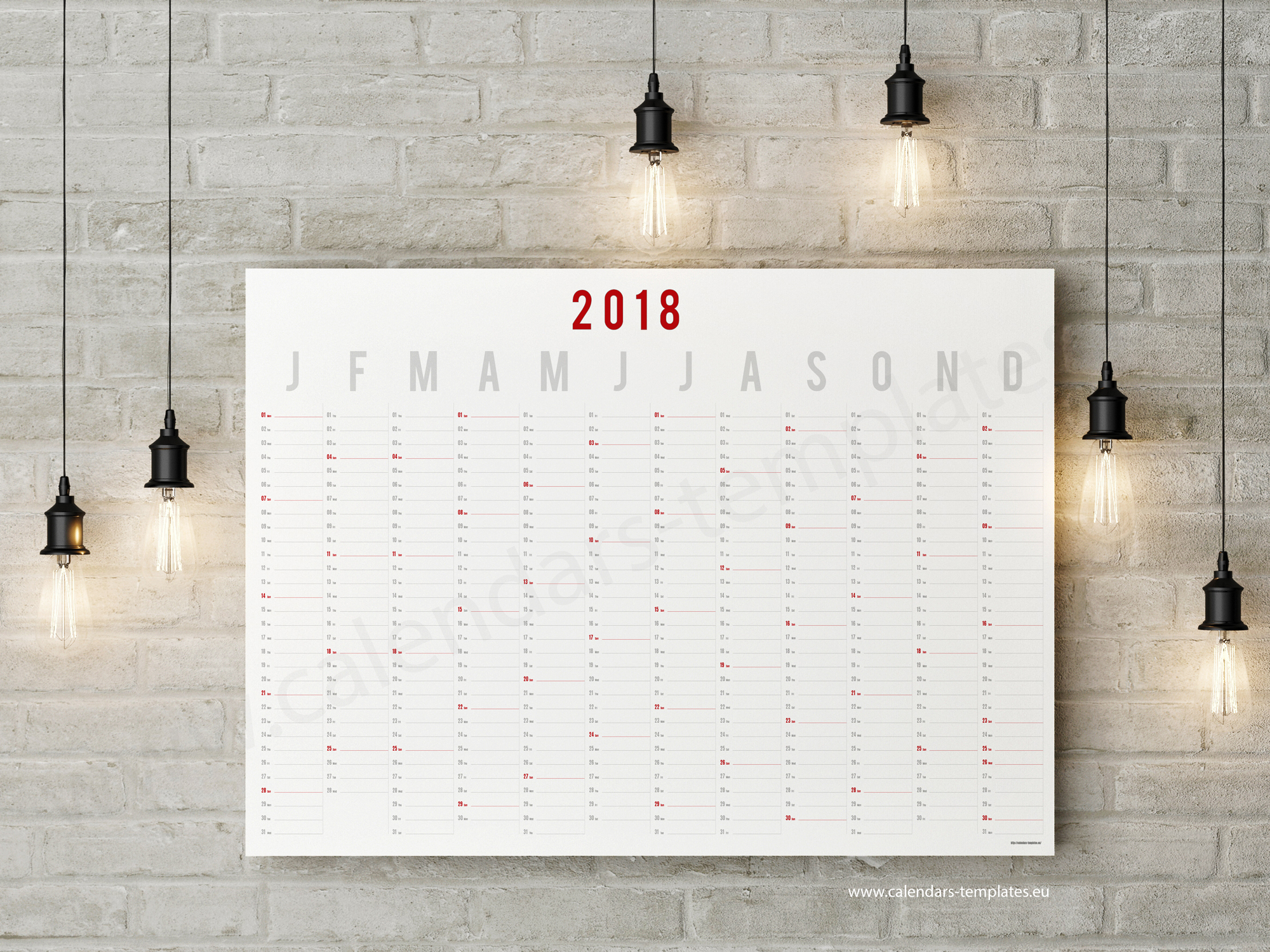 2018 Horizontal year wall planner calendar