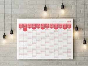 Large Yearly Wall Planner Agenda 2018 templates