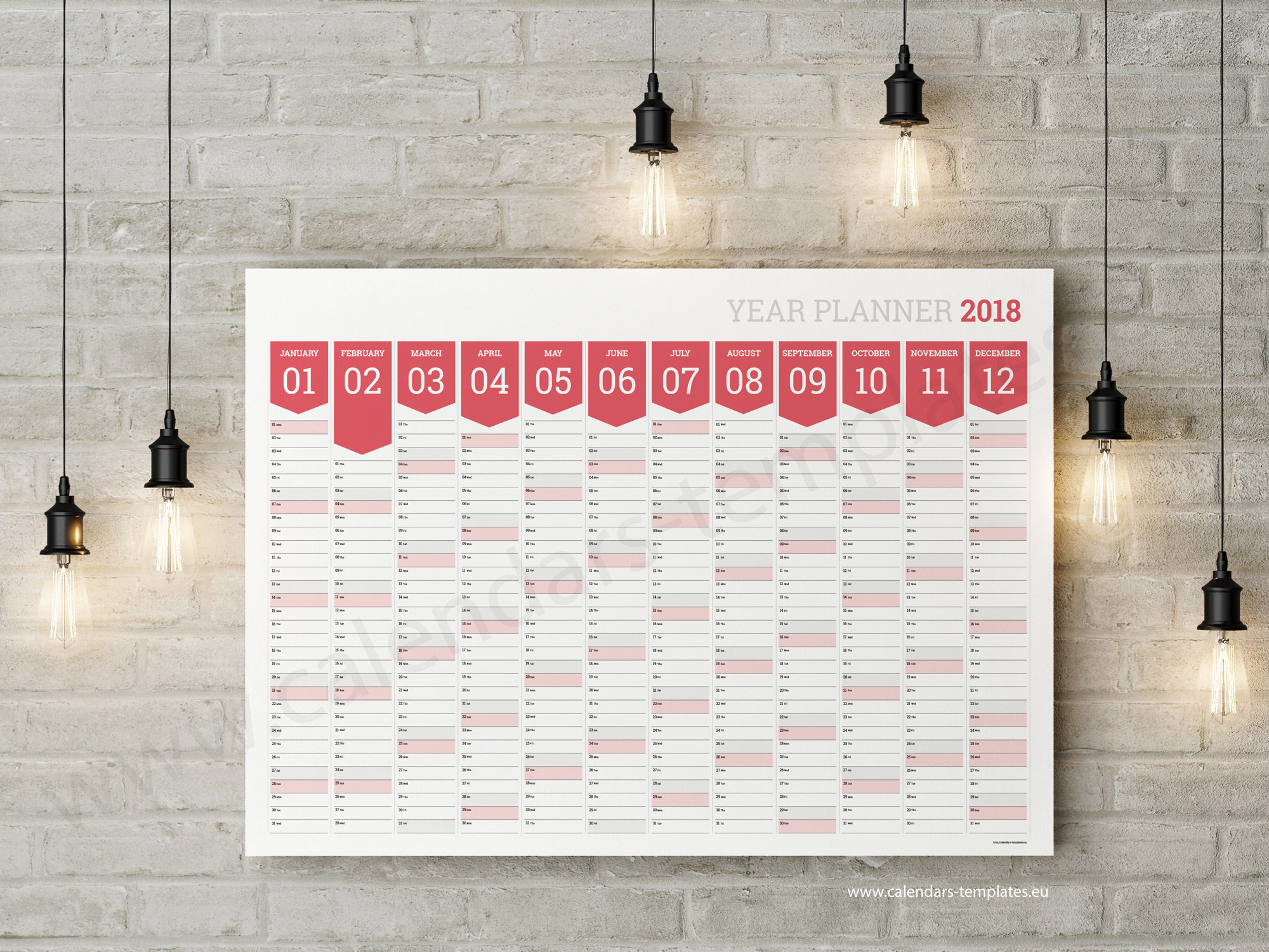 Wall Calendar Planner : Horizontal planner template big printable blank wall