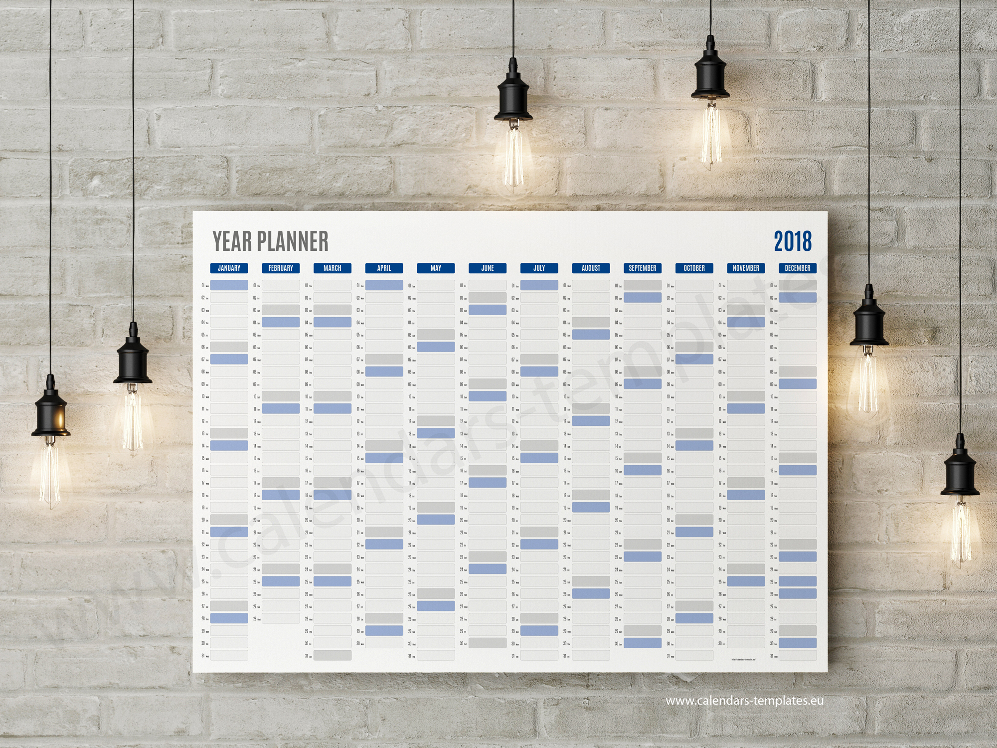 Best Year Planner Template 2018 Printable Pdf Wall Agenda