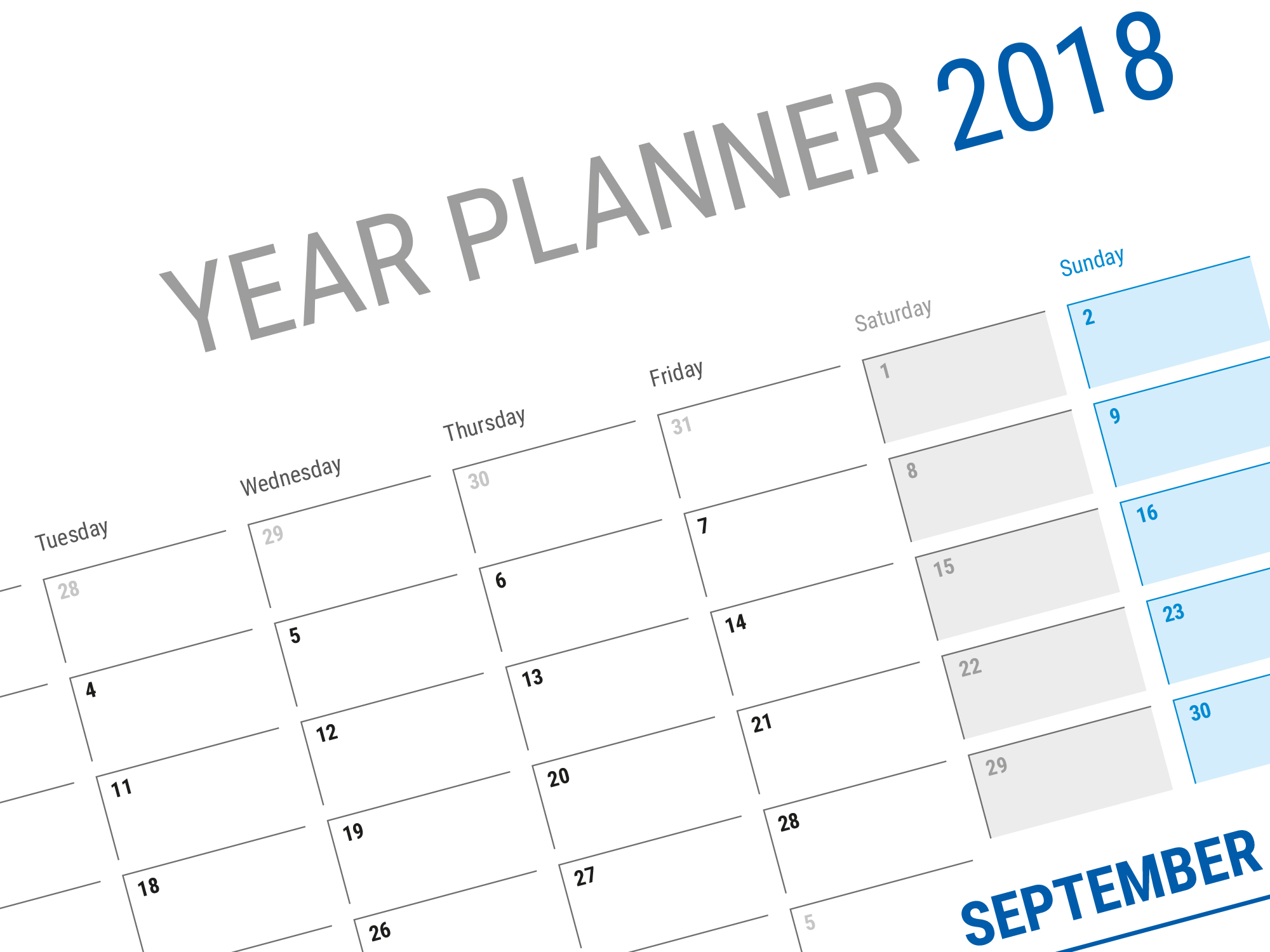 Calendar Planner Sample : Large horizontal blank calendar template for year