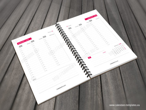daily planner template with calendar 2018 2019