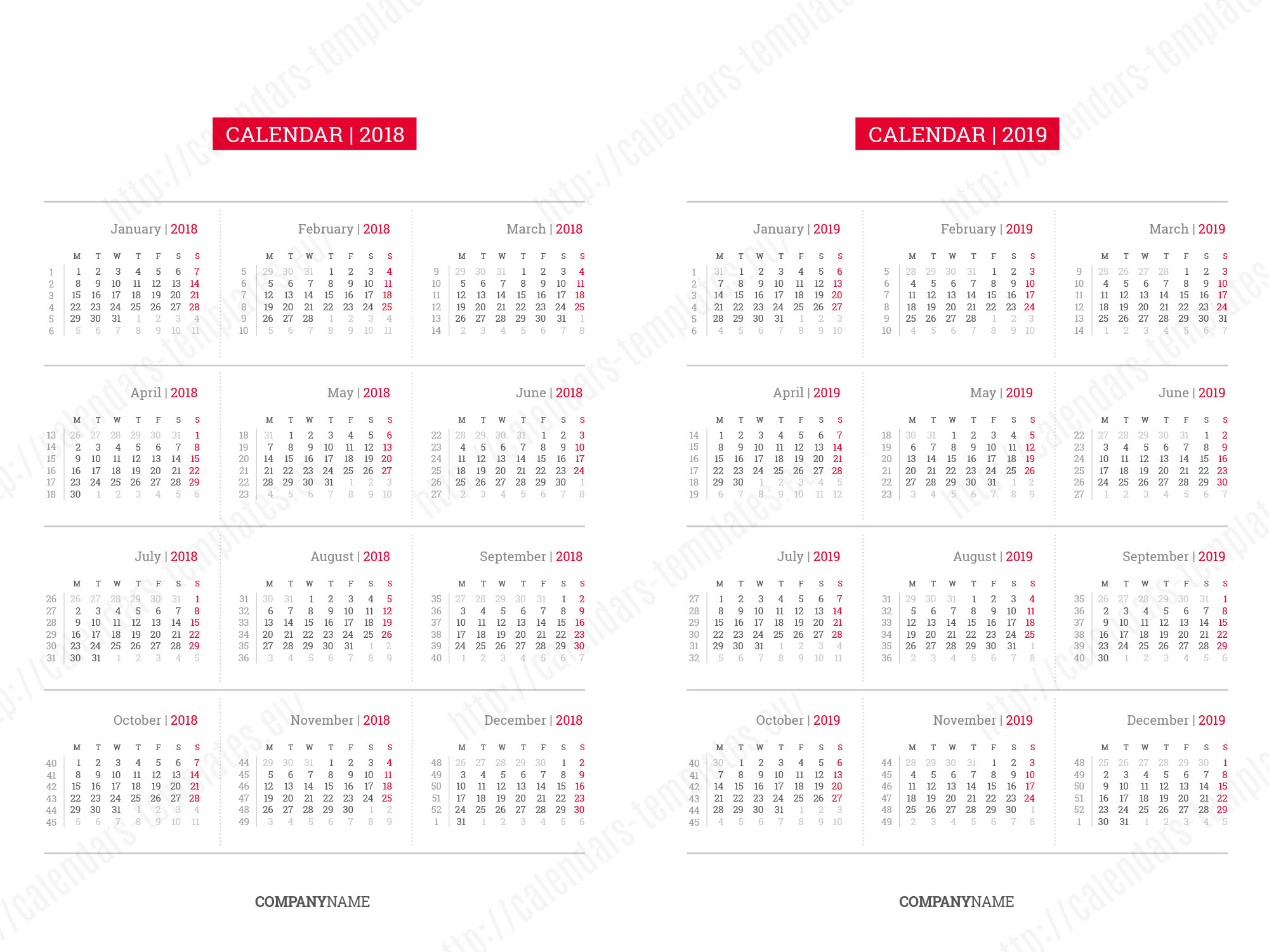 Drawing Calendar 2018 : Printable daily planner template in pdf and indesign